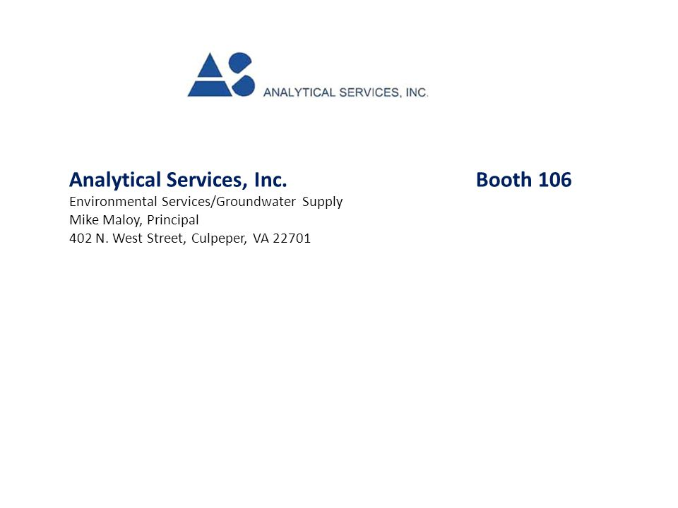 Analytical Services, Inc. Booth 106