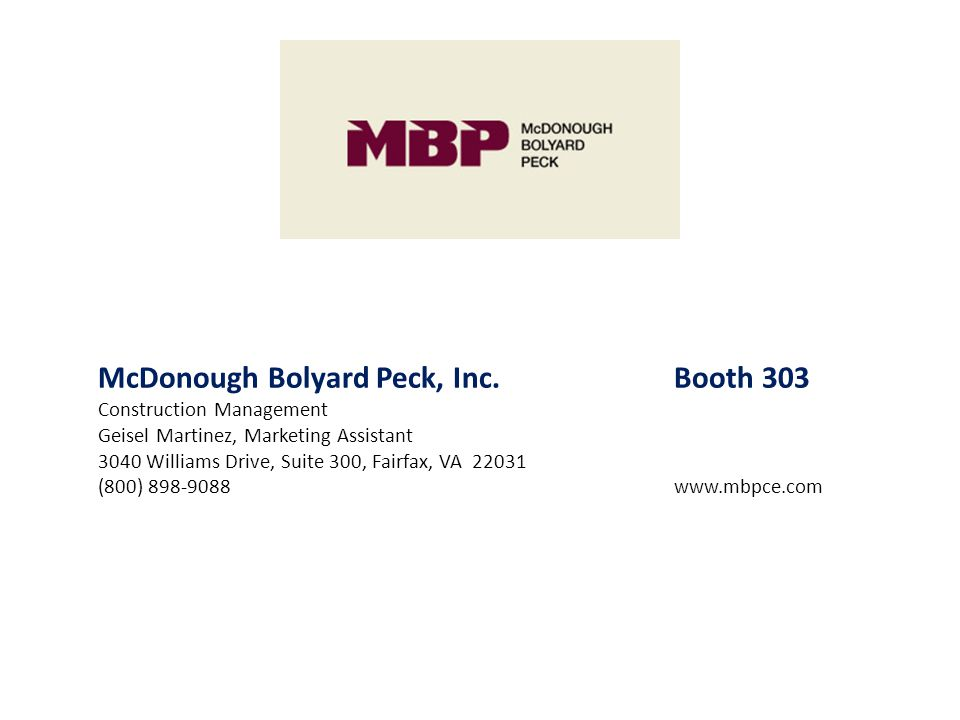 McDonough Bolyard Peck, Inc. Booth 303