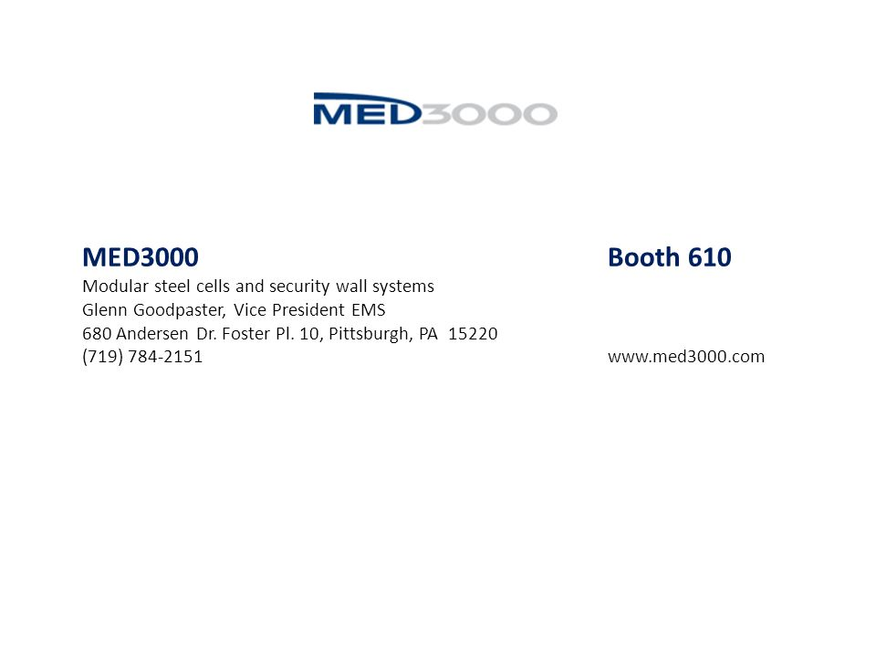 MED3000 Booth 610 Modular steel cells and security wall systems
