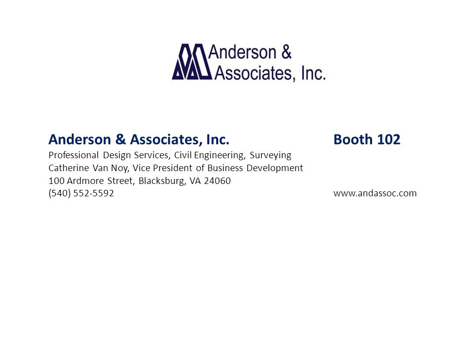 Anderson & Associates, Inc. Booth 102