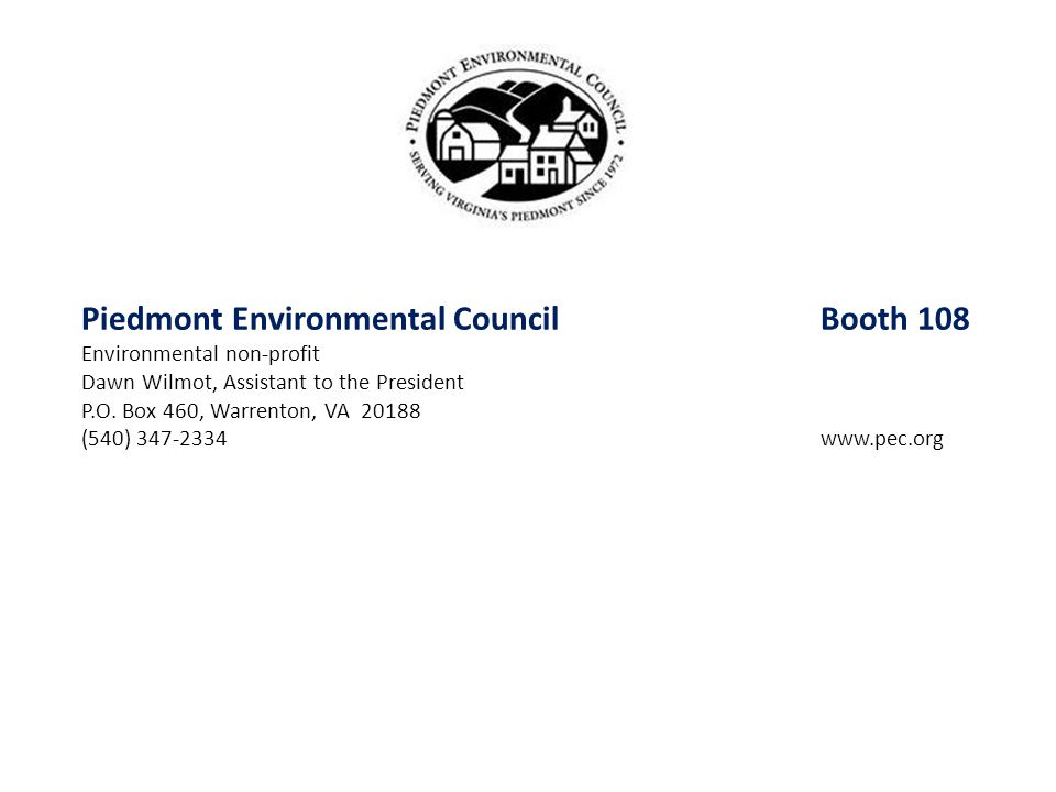 Piedmont Environmental Council Booth 108