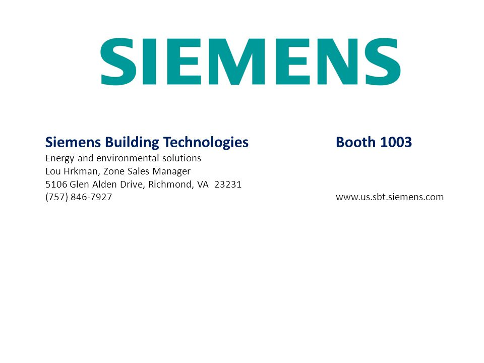 Siemens Building Technologies Booth 1003