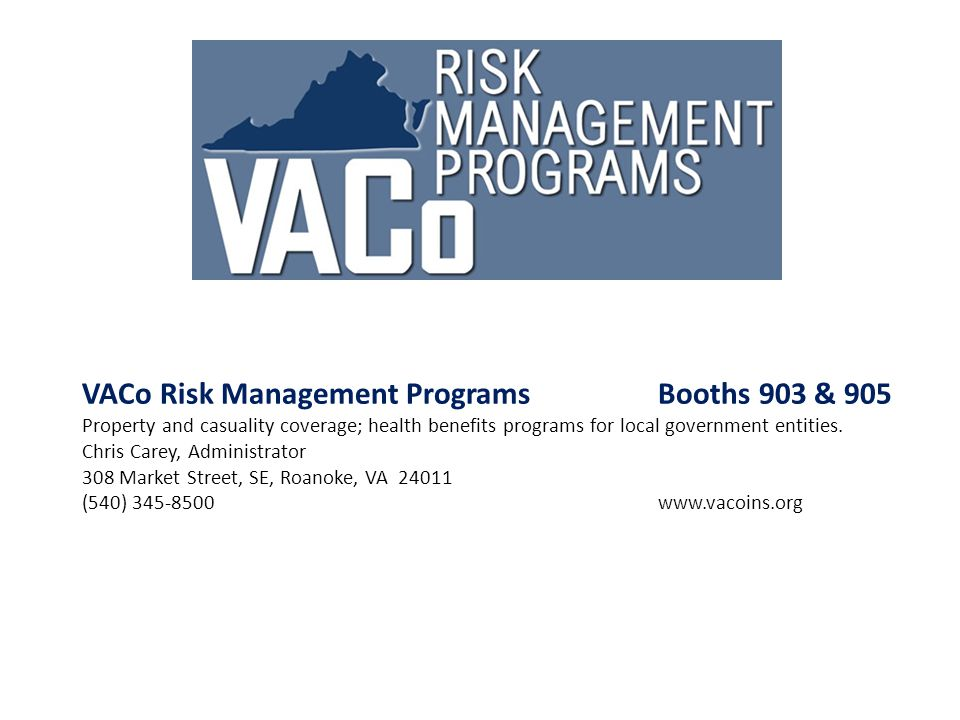 VACo Risk Management Programs Booths 903 & 905
