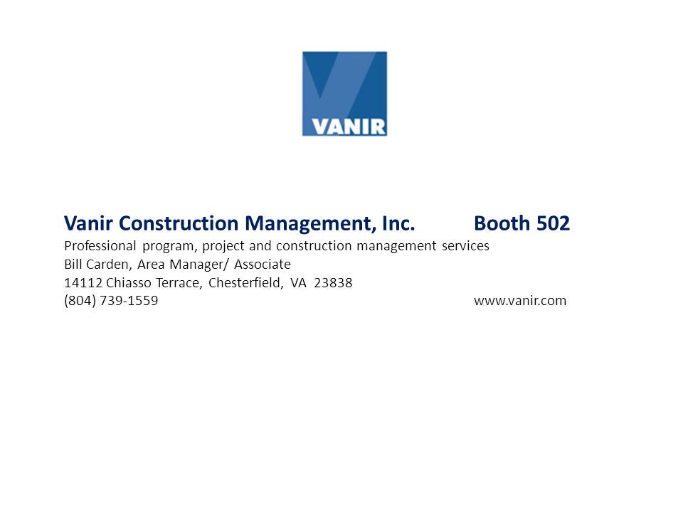 Vanir Construction Management, Inc. Booth 502