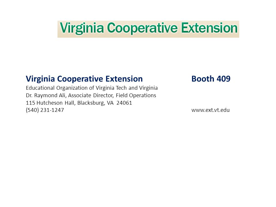 Virginia Cooperative Extension Booth 409