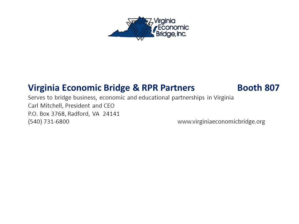 Virginia Economic Bridge & RPR Partners Booth 807