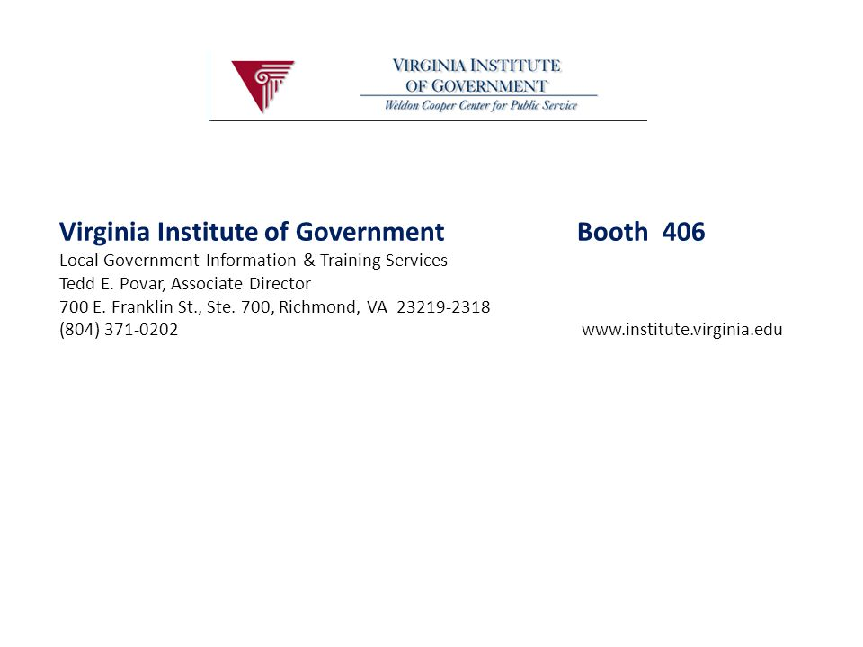 Virginia Institute of Government Booth 406