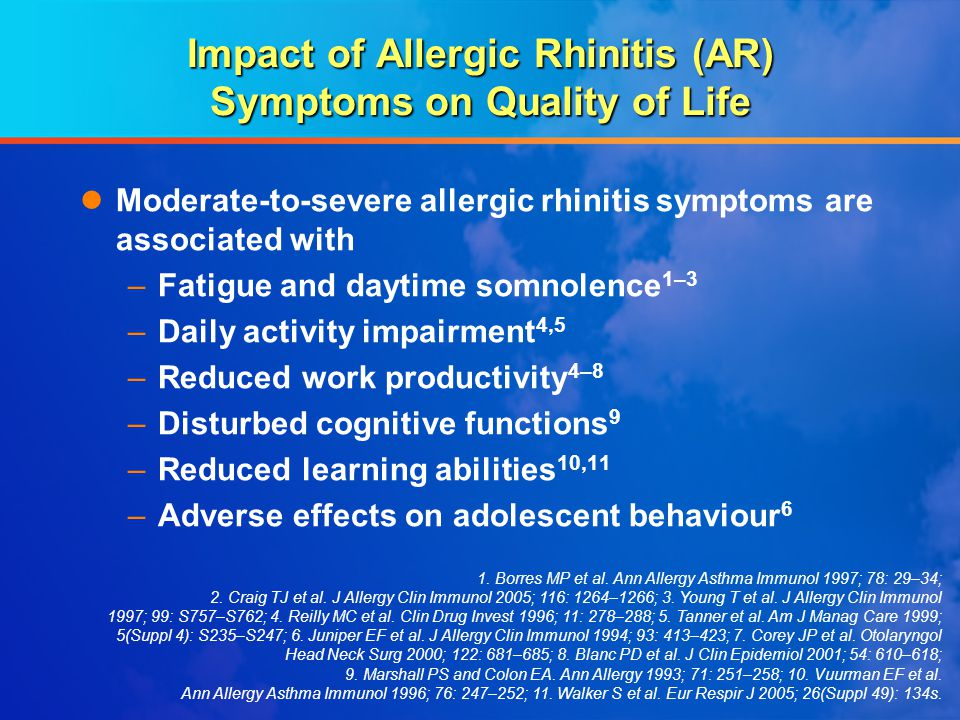 Impact of Allergic Rhinitis (AR) Symptoms on Quality of Life