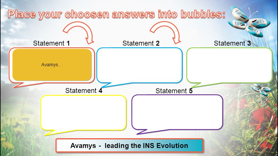Place your choosen answers into bubbles: