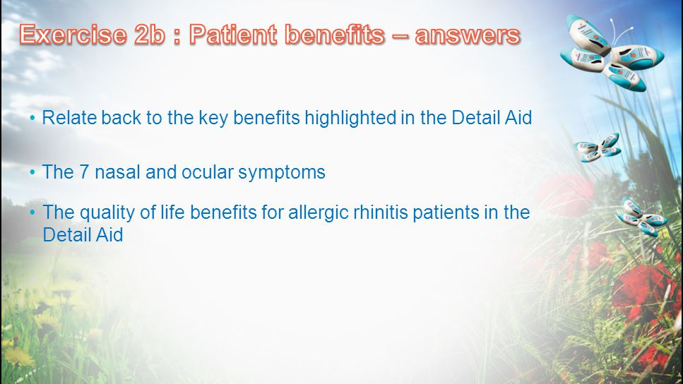 Exercise 2b : Patient benefits – answers