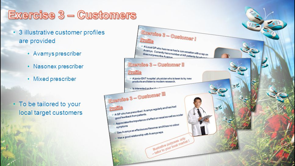 Exercise 3 – Customers 3 illustrative customer profiles are provided
