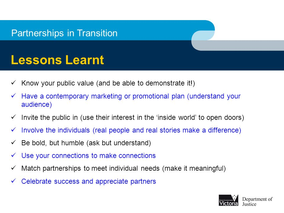 Lessons Learnt Partnerships in Transition