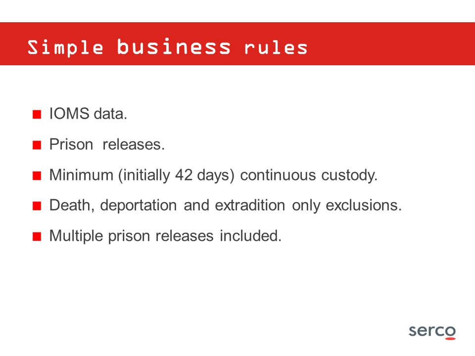 Simple business rules IOMS data. Prison releases.