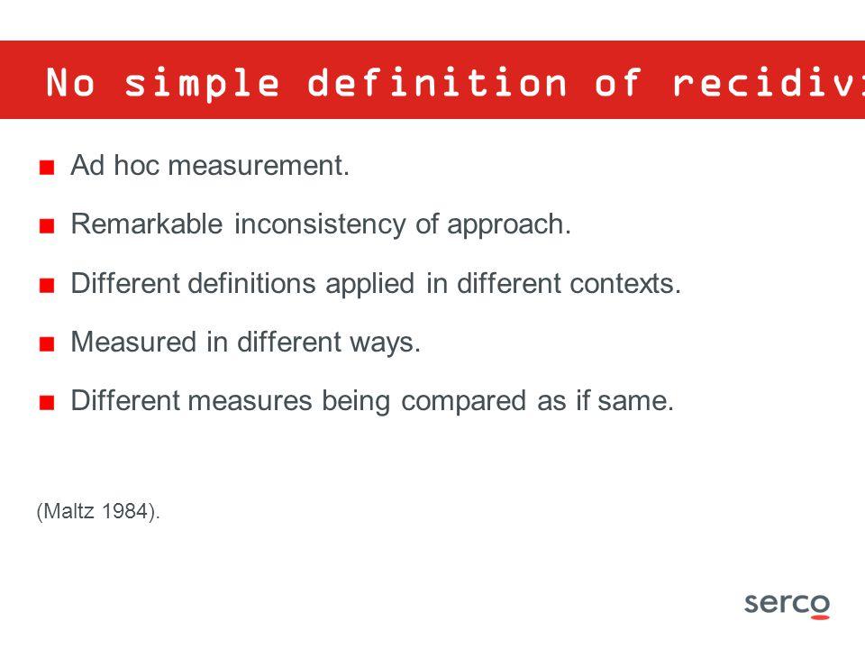 No simple definition of recidivism