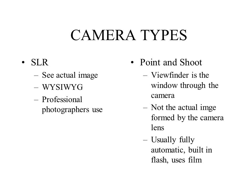 CAMERA TYPES SLR Point and Shoot See actual image WYSIWYG