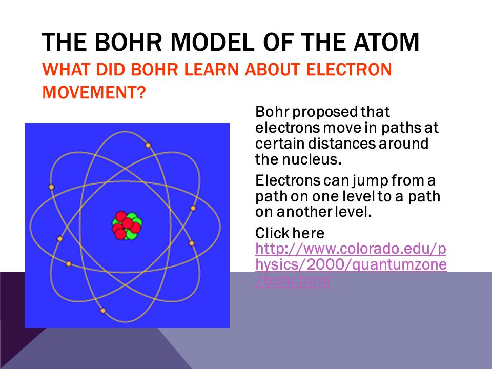 The Bohr Model of the Atom What did Bohr learn about electron movement
