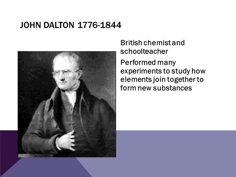John Dalton 1776-1844 British chemist and schoolteacher