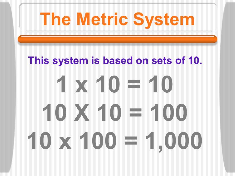 1 x 10 = 10 10 X 10 = 100 10 x 100 = 1,000 The Metric System