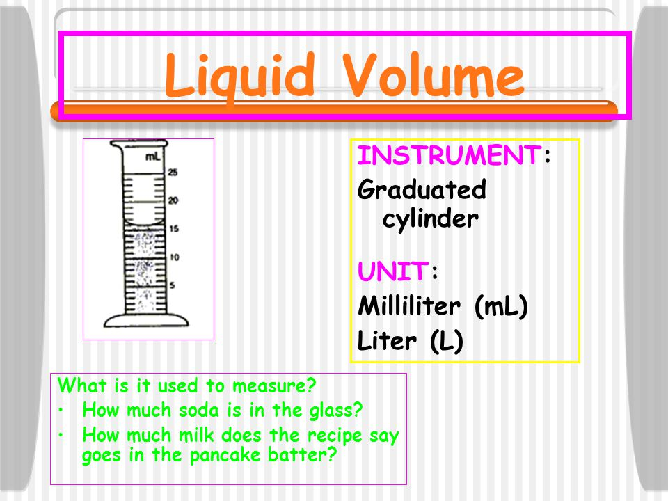 Liquid Volume INSTRUMENT: Graduated cylinder UNIT: Milliliter (mL)