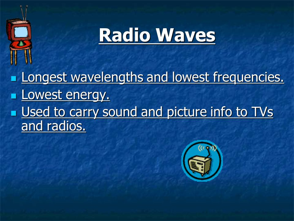 Radio Waves Longest wavelengths and lowest frequencies. Lowest energy.