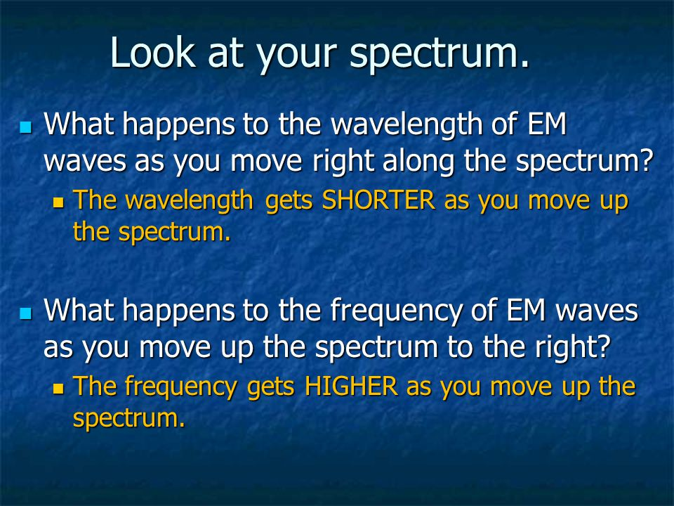 Look at your spectrum. What happens to the wavelength of EM waves as you move right along the spectrum