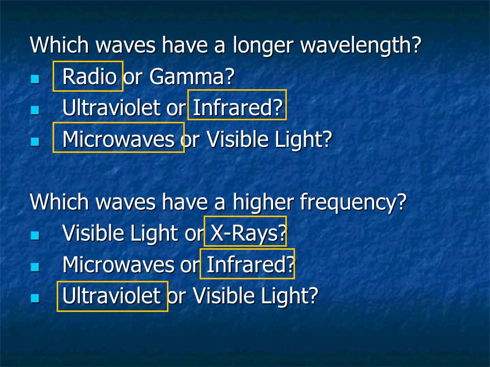 Which waves have a longer wavelength