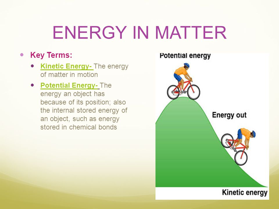 ENERGY IN MATTER Key Terms: