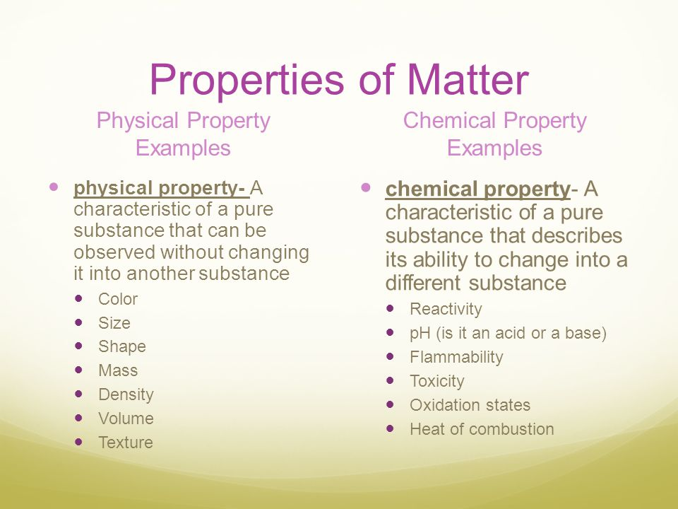 Properties of Matter Physical Property Examples