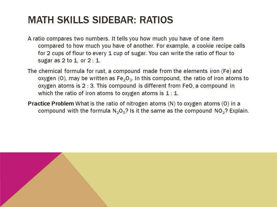 Math skills sidebar: ratios