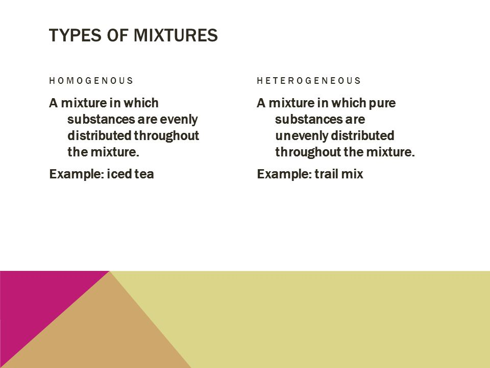Types of mixtures Homogenous. heterogeneous. A mixture in which substances are evenly distributed throughout the mixture. Example: iced tea