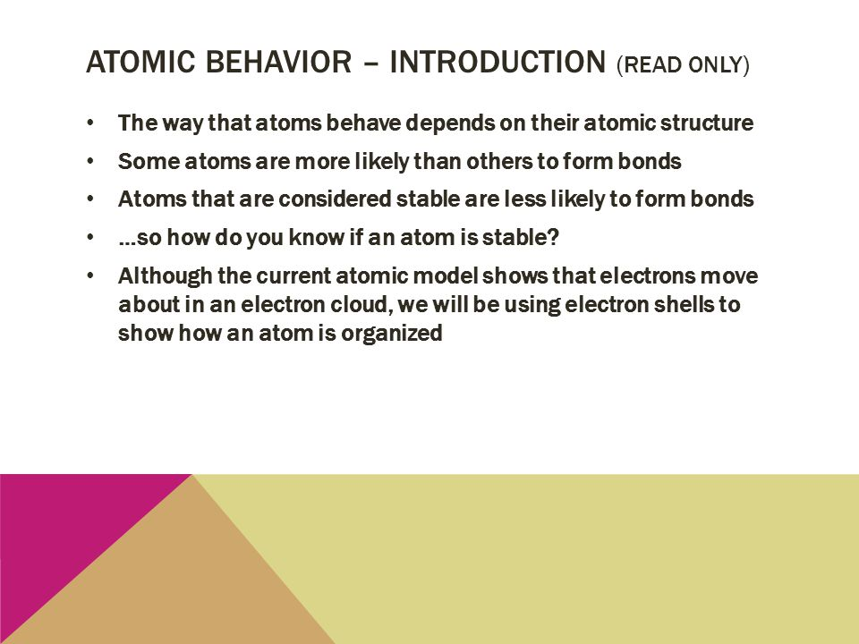 Atomic behavior – Introduction (read only)