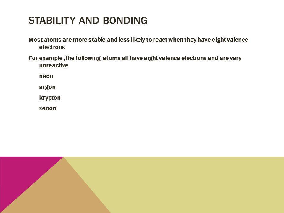 Stability and Bonding