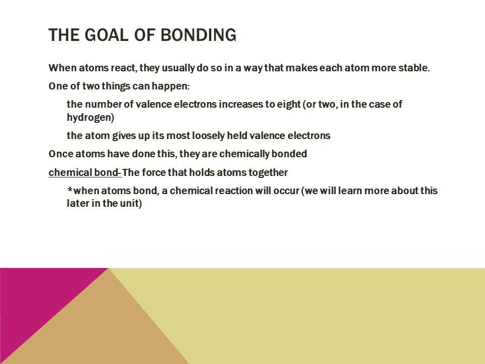 The goal of bonding