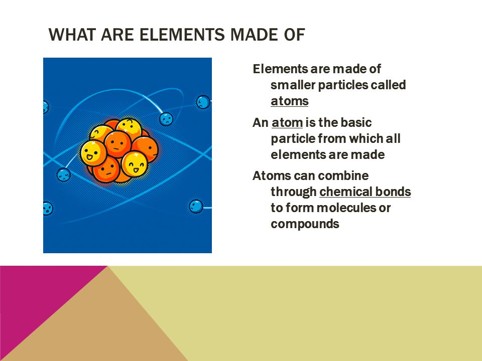 What are elements made of