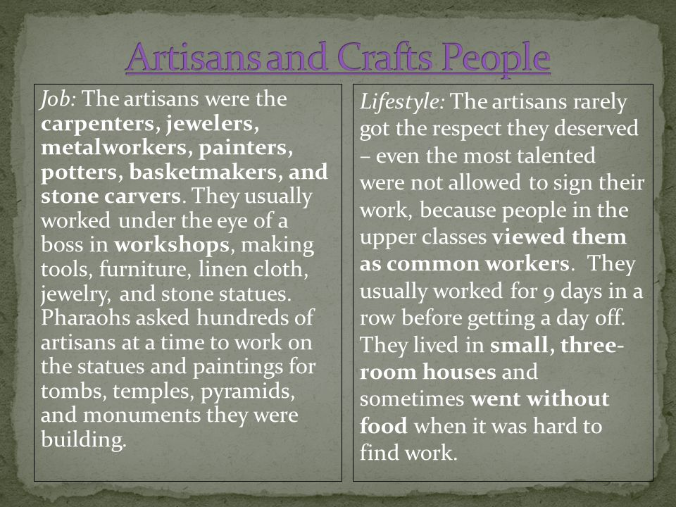 Artisans and Crafts People