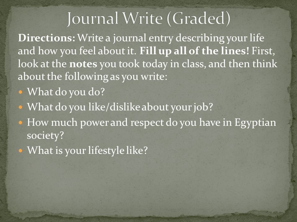 Journal Write (Graded)