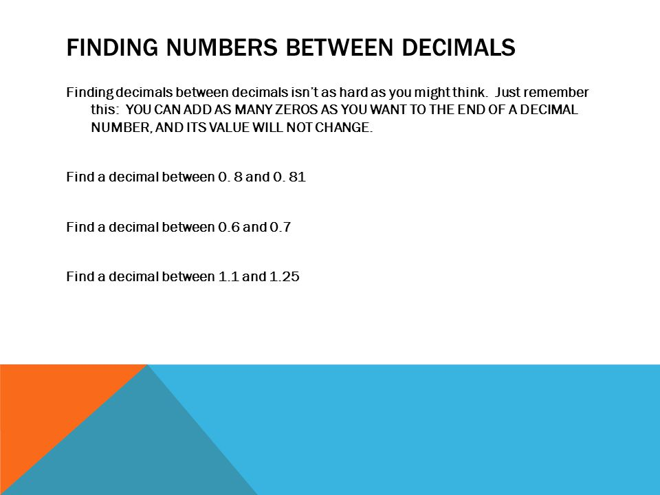 Finding numbers between decimals
