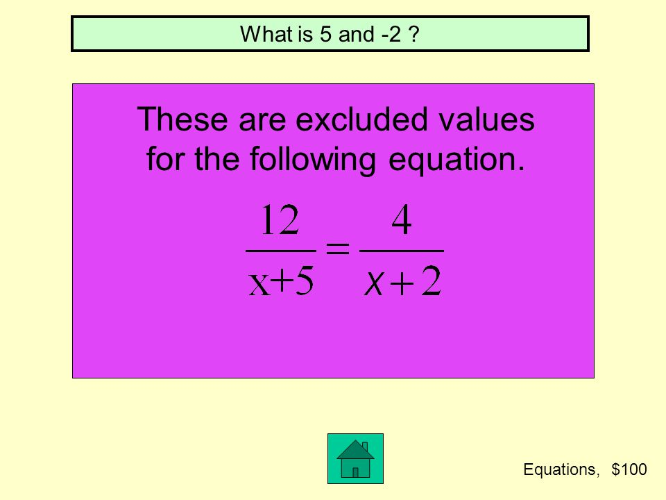 These are excluded values for the following equation.