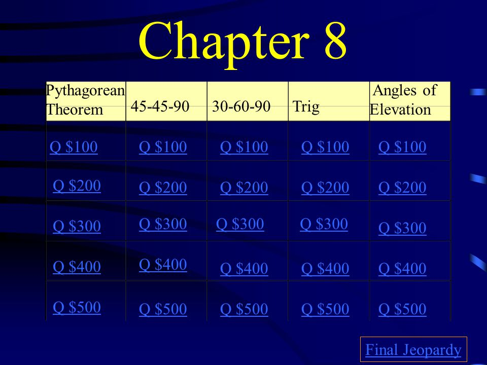 Chapter 8 Pythagorean Theorem Angles of Elevation 45-45-90 30-60-90