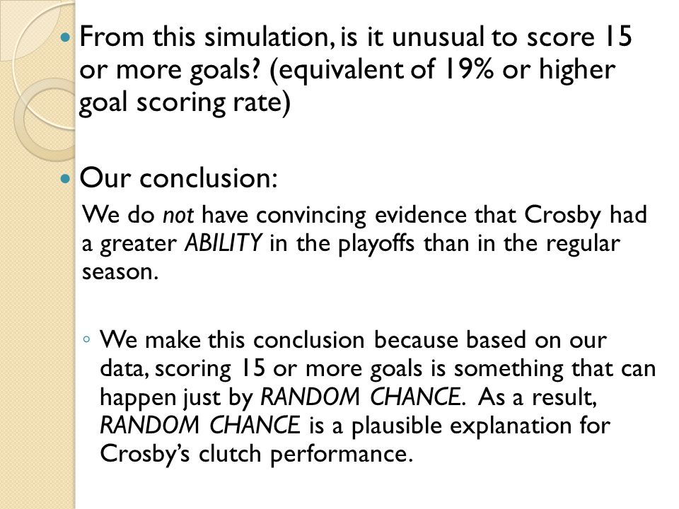 From this simulation, is it unusual to score 15 or more goals