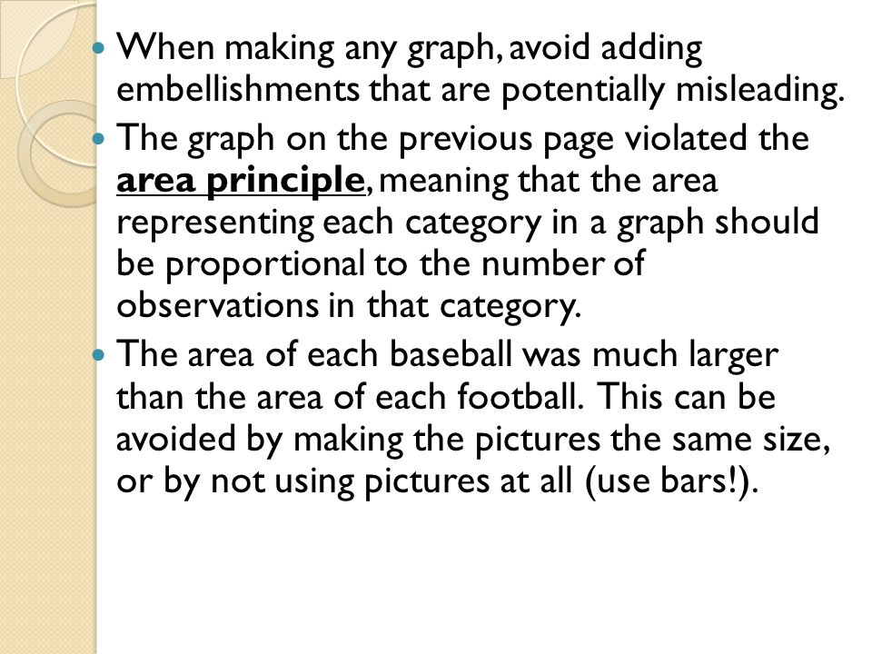 When making any graph, avoid adding embellishments that are potentially misleading.