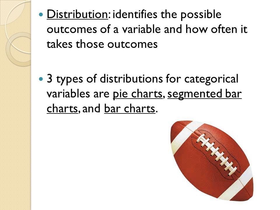 Distribution: identifies the possible outcomes of a variable and how often it takes those outcomes