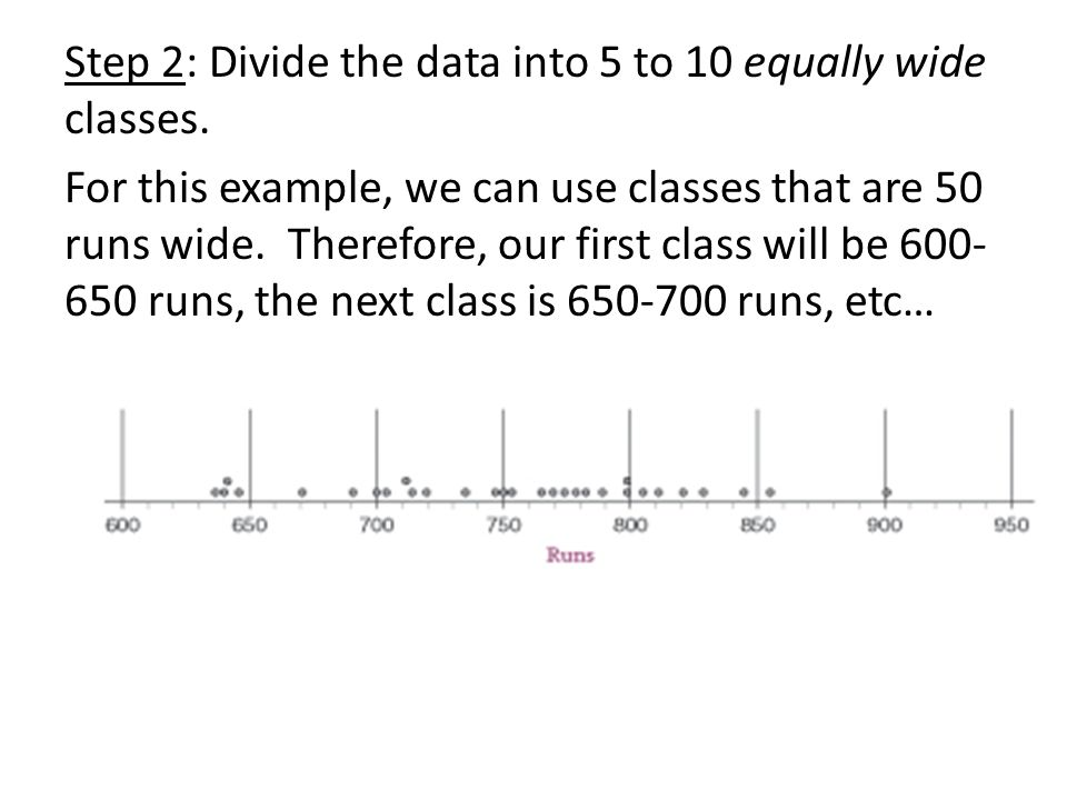 Step 2: Divide the data into 5 to 10 equally wide classes