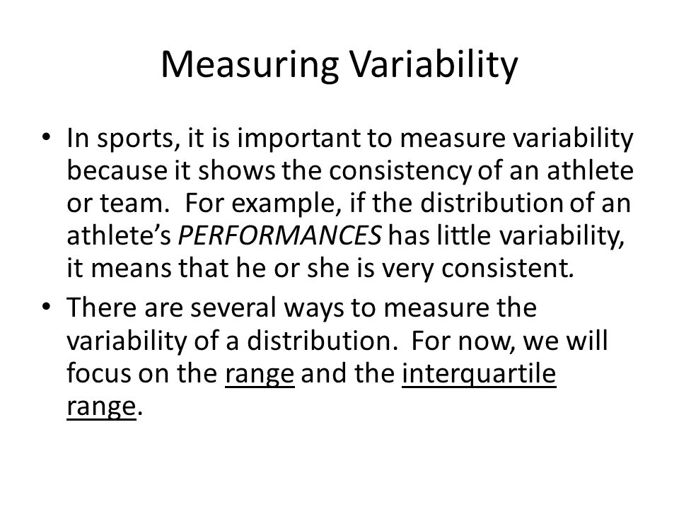 Measuring Variability