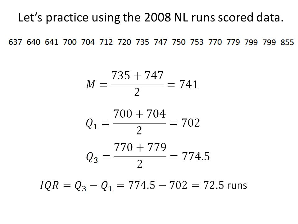 Let's practice using the 2008 NL runs scored data.