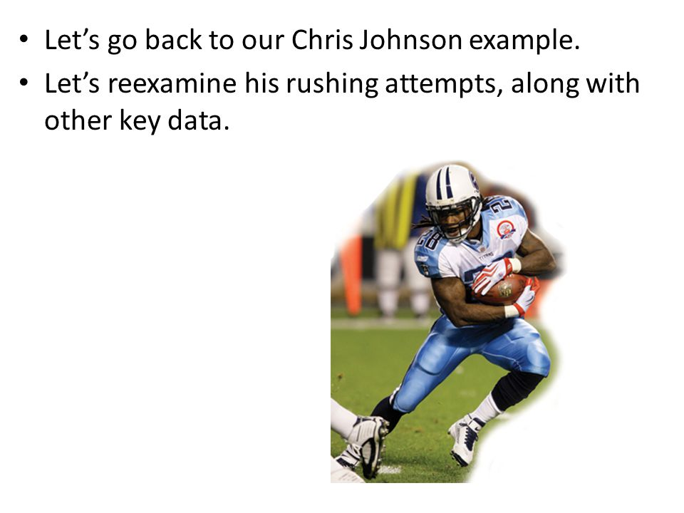 Let's go back to our Chris Johnson example.