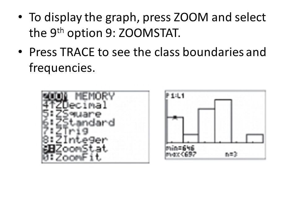 To display the graph, press ZOOM and select the 9th option 9: ZOOMSTAT.