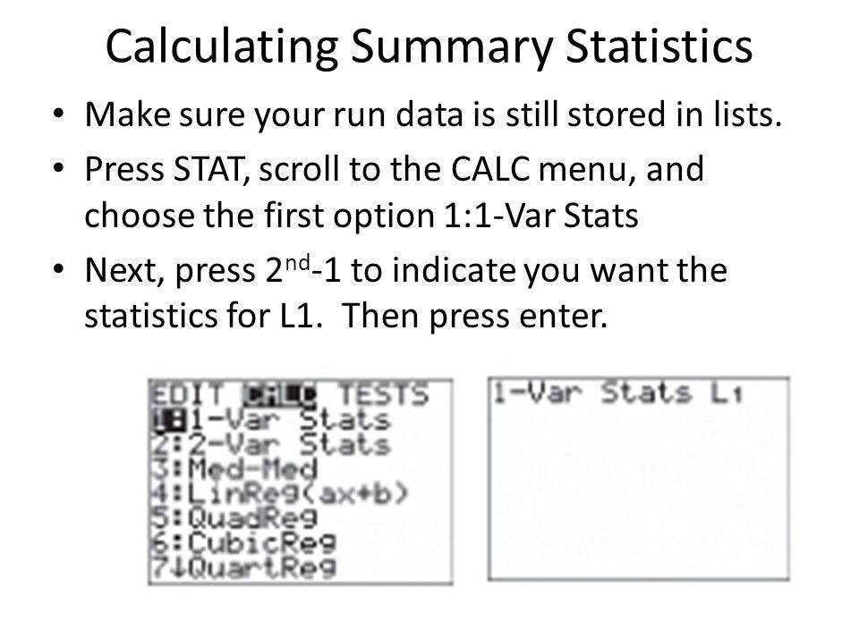 Calculating Summary Statistics