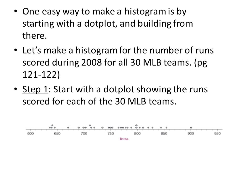 One easy way to make a histogram is by starting with a dotplot, and building from there.