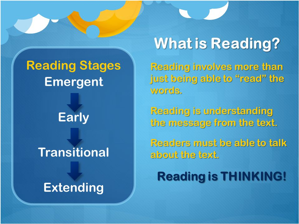 What is Reading Reading Stages Emergent Early Transitional Extending